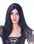 Langhaarperücke für Damen mit Scheitel Halloween Kostüm-Accessoire schwarz