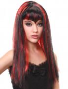 Vampir Perücke mit Pony Halloween Kostümzubehör schwarz-rot