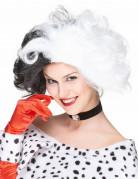 Cruella-Perücke für Damen Kostüm-Accessoire schwarz-weiss