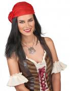 Piraten-Perücke mit Bandana schwarz-rot