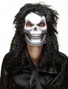 Halloween Totenkopf-Maske mit Haaren silber-schwarz