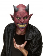Latexmaske Dämon-Teufel Halloween dunkelrot-schwarz
