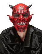 Teuflischer Dämon Halloween-Maske mit Hörnern rot-schwarz