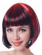 Dämonische Halloween Damen-Perücke schwarz-rot