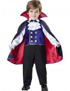 Vampir-Baron Halloween-Kinderkostüm mit Kragen schwarz-rot-lila