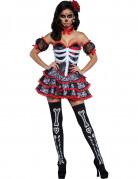 Skelett-Kleid Tag der Toten Damenkostüm mit Knochenprint schwarz-rot-weiss