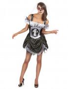 Sexy Skelett-Kleid Halloween-Damenkostüm schwarz-weiss