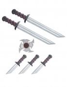 Ninja-Waffen-Gürtel für Kinder Ninja-Spielzeugwaffen schwarz-silber-rot