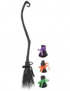 Halloween Hexenbesen mit Schleife schwarz 137cm