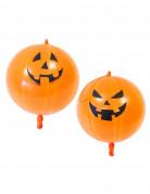 Schaurige Kürbis-Luftballons Halloween orange-schwarz 44cm