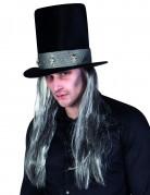 Halloween-Hut in gothischer Form mit Haaren schwarz-grau
