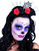 Spinnennetz-Haarreif mit Rosen Halloween-Haarschmuck schwarz-rot-weiss