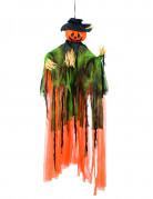 Vogelscheuche zum Aufhängen Hängedekoration Kürbisgesicht orange-grün 1 m lang