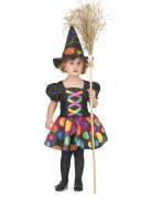 Kleine Hexe-Kinderkostüm Halloween schwarz-bunt