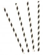 Gestreifte Trinkhalme 10 Stück schwarz-weiß
