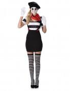Pantomime-Kostüm für Damen 6-teilig schwarz-weiss-rot