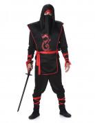 Ninja Kostüm Asia-Krieger schwarz-rot