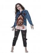 Zombie Halloween Damenkostüm mit Latexapplikation bunt