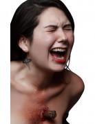Gepfählter Vampir Wundenapplikation braun-rot 4,5x2,5cm
