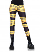 Polizei-Absperrband Leggings Crime Scene-Damenleggings schwarz-gelb