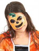 Halloween Kindermaske Kürbis mit Pailletten orange-schwarz-grün