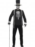Voodoo Hexenmeister Halloween Herrenkostüm schwarz-weiss