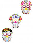 Tag der Toten Masken Halloweenmasken Set 3 Stück bunt 17,5x22,5cm