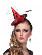 Eleganter Mini-Hexenhut mit Blumen rot-schwarz