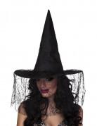 Hexenhut mit Spinnennetz-Schleier schwarz