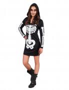 Gruseliges Skelett-Kleid Halloween-Teenkostüm schwarz-weiss