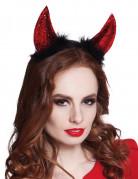 Teufelshörner Tiara mit Glitzer schwarz-rot