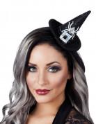 Halloween Mini-Hexenhut für Damen schwarz-silber