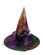 Glitzernder Hexenhut in Regenbogenfarben Halloween Kostüm-Accessoire bunt