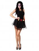 Dia de los Muertos Tutu mit Rosen Halloween-Accessoire schwarz-rot-gelb