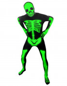 Leuchtendes Skelett Kinder-Morphsuit schwarz-grün