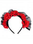 Haarreif mit roten Rosen Día de los Muertos