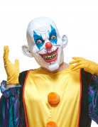 Latex-Maske irrer Grusel-Clown weiss-blau-rot