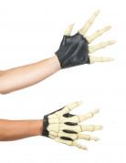 Skelett Handschuhe für Erwachsene schwarz-beige