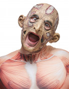Verfaulter Zombie Halloween-Maske grau-beige