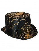 Schwarz/ Goldener Zylinder für Erwachsene Halloween schwarz-gold