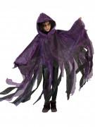 Schwarz/violetter Umhang mit Kapuze für Kinder Halloween lila