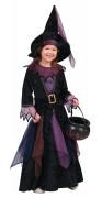 Hexenkostüm für Mädchen aus Samt schwarz-lila