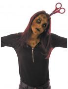 Halloween-Haarreif mit Schere Horror-Accessoire silber-rot