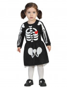 Süsses Skelett Halloween-Babykostüm schwarz-weiss