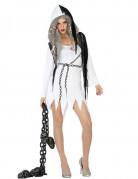 Sexy Geist Halloween-Damenkostüm Gespenst weiss-schwarz