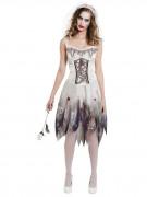 Zombie-Braut Halloween Damenkostüm weiss-grau