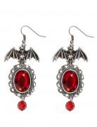 Gothic Ohrringe Fledermaus für Damen Halloween rot-silber