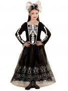 Elegante Skelett-Braut Halloween Kinderkostüm schwarz-weiss