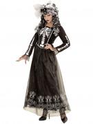 Elegante Skelett-Braut Halloween Damenkostüm schwarz-weiss