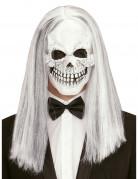 Skelett Maske mit Perücke für Erwachsene weiss-schwarz